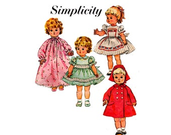 22 inch Doll's Clothes Pattern Simplicity s 189 Vintage Sewing Pattern 50s Doll Wardrobe Dresses Coat Hat Nightgown