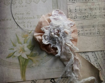 Shabby Tattered Choker Necklace. Textile Art Rosette Necklace. Boho Romance necklace.