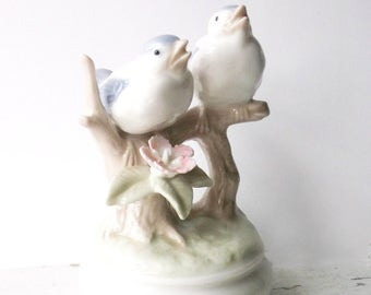 Vintage Blue Birds. Porcelain Ceramic Music Box. Spring Nesting. Woodland Nature Figurine