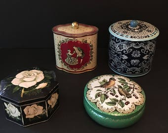 Vtg Lot of 4 Pretty Tins - England and Germany