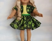 S A L E -18 inch doll clothes - St Patricks Outfit Handmade to fit the American Girl Doll - FREE SHIPPING