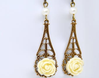 Buttercream Rose Earrings, Yellow Flower Earrings, Antique Brass Filigree, Ivory Color, White Glass Pearl, Flower Jewelry, Bridesmaid Gift