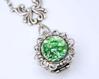 Green Fire Opal Locket Necklace, 4 Picture Locket, Antique Silver Opal Necklace, 4 Photo Locket, Four Way Locket, May Birthstone Jewelry