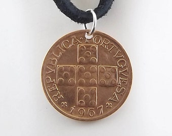Cross Coin Necklace, Portugal 20 Centavos, Coin Pendant, Leather Cord, Mens Necklace, Womens Necklace, Coin Jewelry, Birth Year, 1967