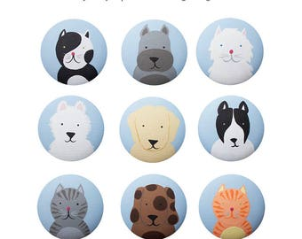 Hand Painted Knob - Children's Custom Hand Painted Cute Critters - Cats and Dogs Animal Pets Drawer Knobs Pulls or Nail Covers for Kids