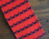 MCM Mid century red and blue square end skinny tie navy