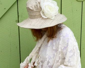 Women's sun hat in cream raw silk