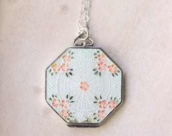 Vintage Sterling Silver White Enamel Locket Necklace, Large Octagonal Picture Pendant with Hand Painted Flowers - Delightful