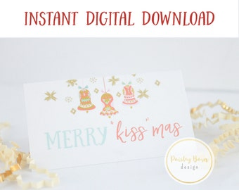 "INSTANT DOWNLOAD Merry ""Kiss""mas Bag Topper | kissmas skincare, lip serum, business card, R+F, marketing"
