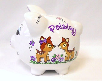 Personalized Piggy Bank with Fawns, Baby Deer