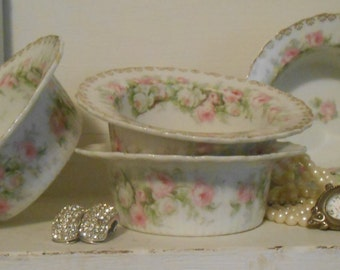 Beautiful Shabby Chic Small Floral Dishes with Gold Edge Design