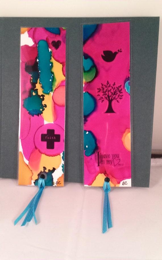 Original Painted Unique Bookmarks Set Laminated Yupo Paper