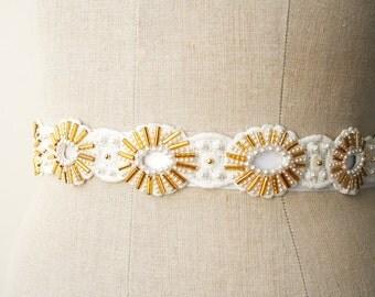 Gold Sash, Bridal Sash Belt, Beaded Sash