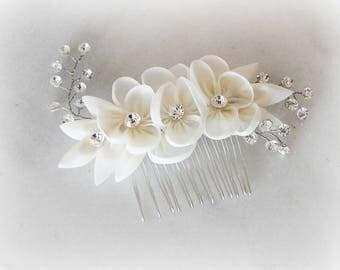 Ivory Bridal Comb, Swarovski Crystals, Organza Hair Flower, Hair Comb - ISLA