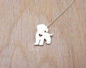 Cockapoo necklace, sterling silver hand cut pendant with heart, tiny dog breed jewelry