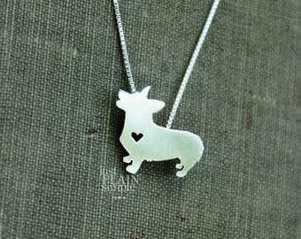 Pembroke corgi necklace, tiny sterling silver hand cut pendant with heart, tiny dog breed jewelry