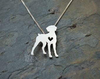 Weimaraner necklace, sterling silver hand cut pendant with heart, tiny dog breed jewelry