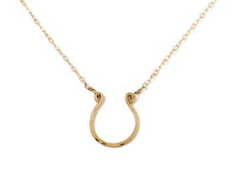 Gold Horseshoe Necklace / Good Luck Necklace / Handmade 14K Gold Filled, Rose Gold or Silver Horse Shoe Pendant / Delicate Everyday Necklace