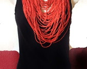 Large red necklace,Long and layering Extra large beaded bib necklace,Bohemian style,modern gypsy, Statement jewelry by Taneesi
