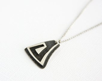 Vintage Handcrafted Pendant Necklace Sterling Silver Triangle Swirl Design Handmade Silver Pendant Chain Artisan Art Jewelry Modern Tribal