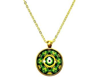 Yellow Green Necklace, Mandala, Green Mandala Necklace Pendant, Mandala Art Jewelry, New Age Jewelry, SMALL