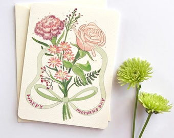 Mothers Day Card Floral - Pink Flowers - Flower Card for Mom - Mother's Day Card - Mother Day Card - Happy Mother's Day