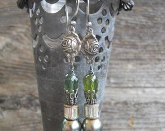 Spring Drops            Tourmaline Tahitian Pearl French Medal Vintage Assemblage Earrings