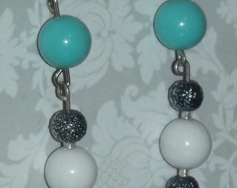 Turquoise Blue and White Dangle Earrings