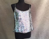 Vintage Sequin Camisole, Silver Spaghetti Strap Tank Top, Size XL to XXL