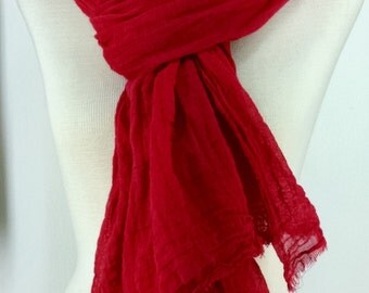Huge Gauze Nomad Scarf, Fire Engine Red Hand Dyed Scarf, Extra Large Scarf