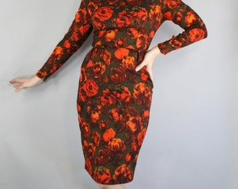 FREE SHIPPING 50s Wiggle Dress, Floral Dress, Orange Roses, Brown, Mad Men, Spring, Wedding Guest, Long Sleeve, Knee Length, vlv, Small