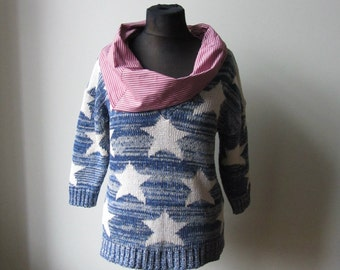 American Flag Sweater, Fourth of July Shirt, Upcycled Sweaters, 4th of July Shirt Women, Stars and Stripes Sweater, Patriotic USA Flag Shirt