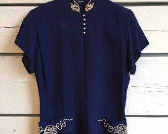 Vintage 1940s navy blue rayon dress • 40s dress