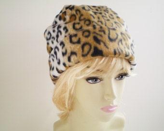 Leopard Fleece Cap, Leopard Fleece Hat, Leopard Slouchy Hat, Leopard Beanie Cap, Leopard Hat, Fleece Beanie Hat, Fleece Slouchy Hat