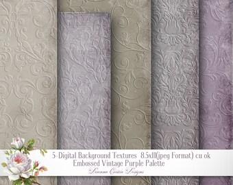damask background Papers, embossed paper, 8.5x11, Vintage damask Paper, shabby chic paper, scrapbooking, Purple paper, cu, instant download