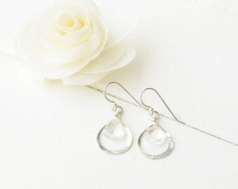 Tear Drop Earrings -  Sterling Silver with Quartz Briolette