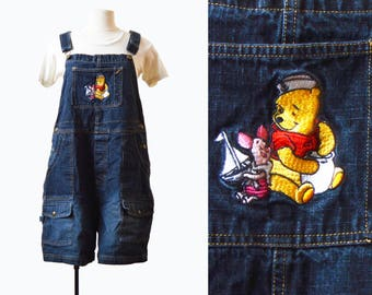 Vintage 90s Piglet Winnie the Pooh Denim Overall Shorts / 1990s GRUNGE Nautical Shortall Jean Shorts Romper Playsuit m