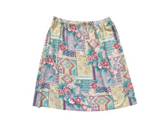 Mixed Prints Midi Skirt