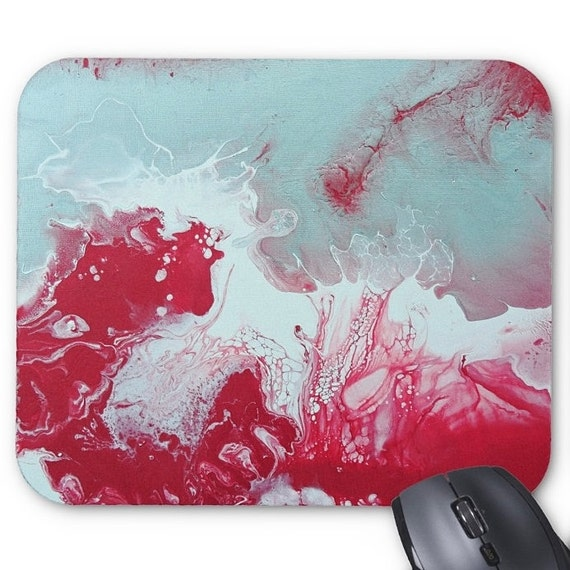 Mousepad Mouse Pad Fine Art Painting Abstract Red White Silver Fine Art Contemporary Modern 'Red Granite' Original Amber Lamoreaux