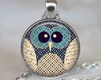 Blue-Eyed Owl necklace, colorful owl necklace owl pendant owl jewelry owl jewellery owl lover gift cute owl key chain key ring key fob