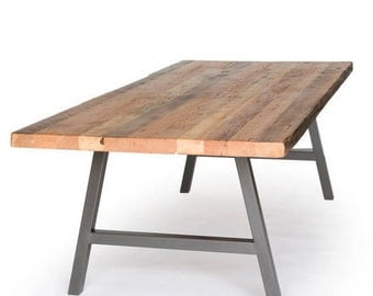 Farmhouse Dining Table,  Barnwood Dining Table, Recycled Wood Table with steel legs in your choice of features