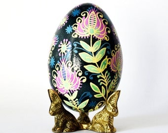 gift for mom Goose Egg Pysanka with Beautiful flowers Mother's Day gift from husband stylish all year around home decor for any room