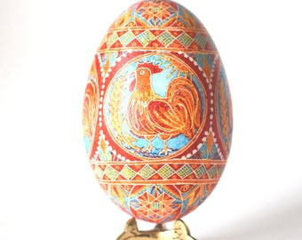 Pysanka Ukrainian Easter eggs Chinese calendar 2017 Red rooster Lucky rooster ornament 2017 Christmas ornament gift idea first birthday