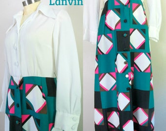 Lanvin Mod Maxi Shirt Dress Vintage 1970s Designer