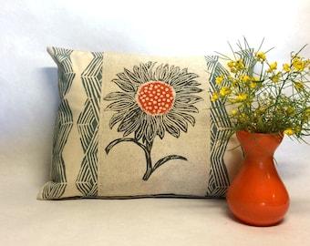 Sun Flower Block Print Pillow - Hand Block Printed Sunflower Kidney Pillow