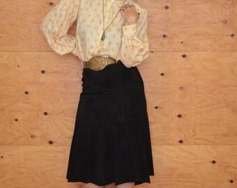 Vintage 80's Black Suede Fishtail Mermaid Midi Skirt Size 4 Fits 8