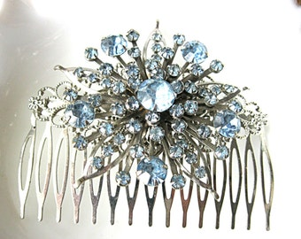 Large light blue rhinestone brooch hair comb for bride, bridesmaid, mother of the bride, grooms mother, holiday party, silvertone comb