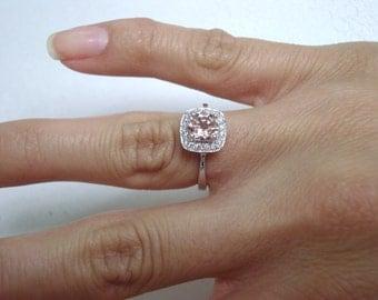 0.91 Carat Morganite Engagement Ring, Wedding Ring 14K White Gold Certified Pave Halo Handmade
