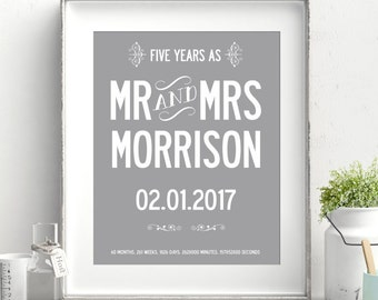 Personalized 5 year wedding anniversary print. A3 luxury poster print.