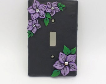 Violet Flower Switchplate; Single Light Switch Cover; Purple Plumeria Switch; Polymer Clay Switch Plate; Style #:VIF02